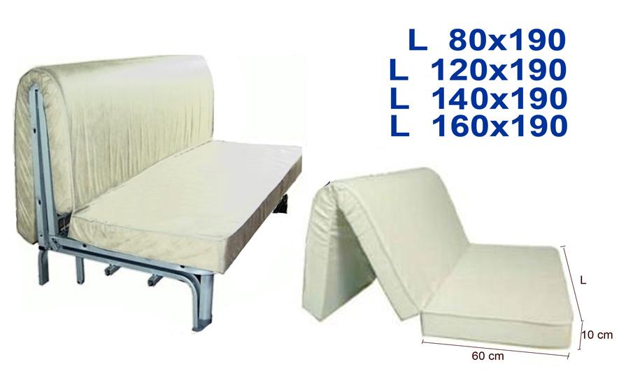 Materasso divano letto prontoletto alto 10 cm for Divano letto pronto
